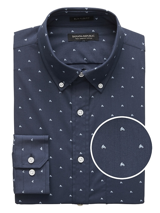 New Slim Fit Tech Stretch Cotton Moto Print Shirt by Banana Repbulic