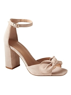 Bare High Block-Heel Bow Sandal