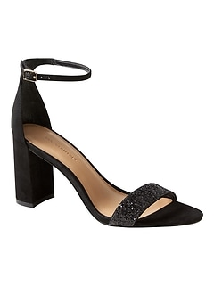 Bare High Block-Heel Glitter Sandal