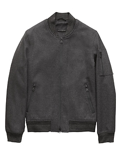 Italian Melton Wool Blend Bomber Jacket