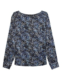 Petite Print Covered Button-Cuff Top
