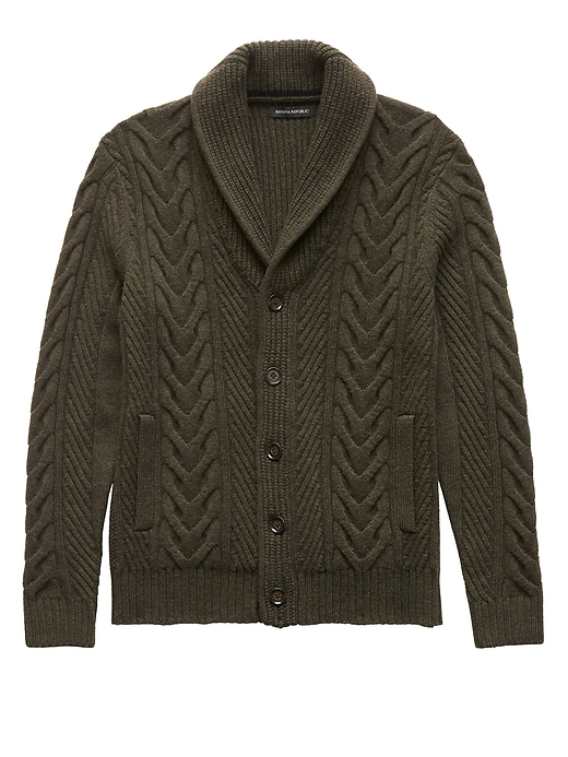 Banana Republic Mens Merino Wool Blend Cable-Knit Shawl-Collar Cardigan Sweater Fall Green Size M
