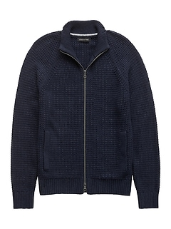 Textured Cotton Blend Full-Zip Sweater Jacket