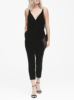 Velvet Cropped Strappy Jumpsuit