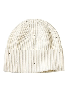 Rhinestone Wool-Cotton Blend Beanie