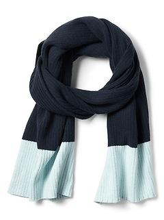 Wool-Cotton Blend Ribbed-Knit Rectangular Blanket Scarf
