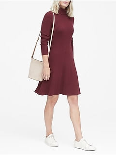 Ribbed Cotton-Blend Turtleneck Sweater Dress