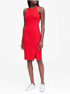 Petite Bi-Stretch Racer-Neck Sheath Dress