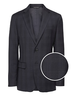 Slim Plaid Italian Wool Suit Jacket