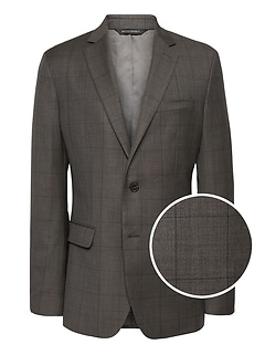 Slim Windowpane Italian Wool Suit Jacket