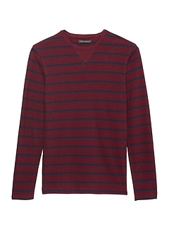 Heritage Stripe Long-Sleeve Textured Crew-Neck T-Shirt