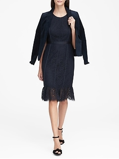 Lace Paneled Sheath Dress