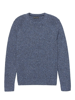 Merino Wool Blend Donegal Crew-Neck Sweater