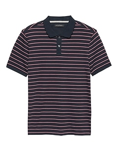Slim Luxury-Touch Allover Stripe Polo