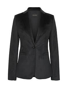 Long and Lean-Fit Solid Velvet Blazer