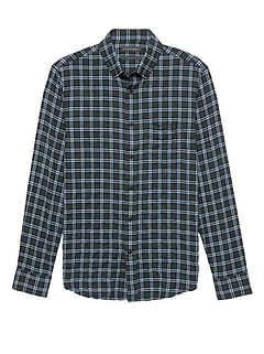 Slim-Fit Crinkle Cotton Flannel Shirt