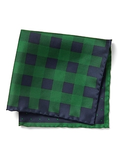 Plaid Dot 4-in-1 Silk Pocket Square