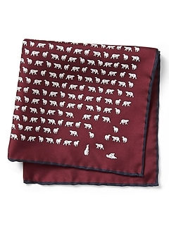 Polar Bear Express Silk Pocket Square