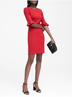 Ponte Flutter-Sleeve Dress