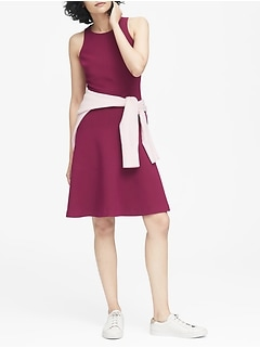 Stretch Racerback Fit-and-Flare Dress