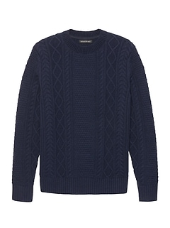 Italian Merino Wool Blend Cable-Knit High Crew-Neck Sweater