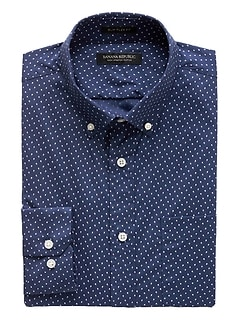 NEW Slim-Fit Tech-Stretch Cotton Dot Shirt