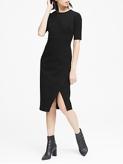 Petite Bi-Stretch Short-Sleeve Sheath Dress