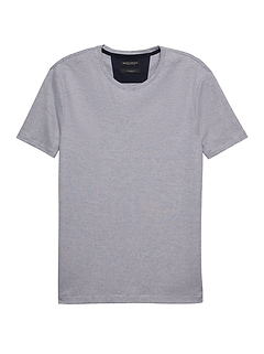 Luxury-Touch Mini Stripe Crew-Neck T-Shirt