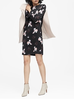 Floral Ruffle-Cuff Dress