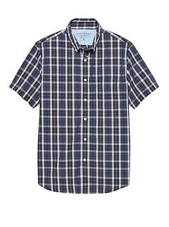 Grant Slim-Fit Luxe Poplin Short-Sleeve Plaid Shirt