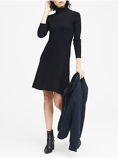 Two-Tone Ribbed Cotton-Blend Turtleneck Sweater Dress