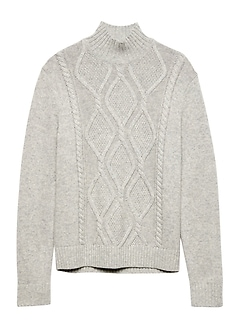 Italian Recycled Wool Blend Cable-Knit Mock-Neck Sweater