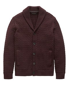 Cotton Cable-Knit Shawl-Collar Cardigan Sweater