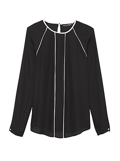 Long-Sleeve Top with Piping