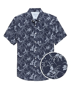 Grant Slim-Fit Luxe Poplin Short-Sleeve Floral Shirt
