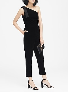 Velvet One-Shoulder Jumpsuit