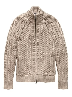 Cashmere Cable-Knit Sweater Jacket