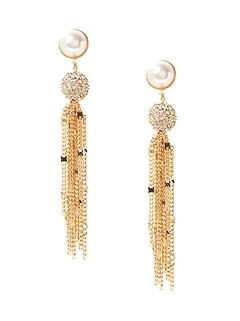 Delicate Pavé Ball Fringe Earrings
