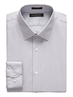 Grant Slim-Fit Non-Iron Herringbone Dress Shirt