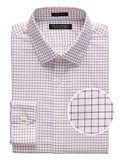 Grant Slim-Fit Non-Iron Mini Grid Dress Shirt