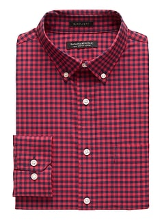NEW Slim-Fit Tech-Stretch Gingham Print Shirt