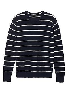 Textured Cotton Stripe Crew-Neck Sweater