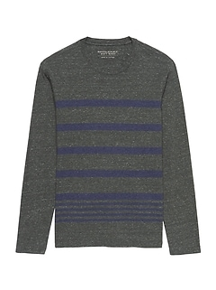 Luxury-Touch Stripe Long-Sleeve Crew-Neck T-Shirt
