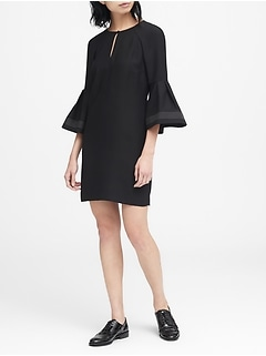 Bell-Sleeve Shift Dress