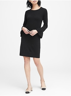 Ruffle-Cuff Sweater Dress