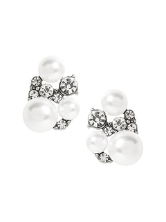 Stone and Pearl Stud Earrings