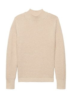 Washable Wool-Cashmere Mock-Neck Sweater