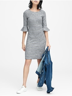 Petite Stripe Flutter-Sleeve Dress