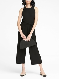 Solid Cropped Wide-Leg Jumpsuit