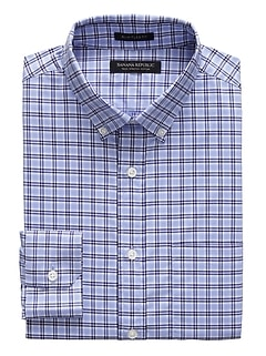 NEW Slim-Fit Tech-Stretch Cotton Tartan Plaid Shirt